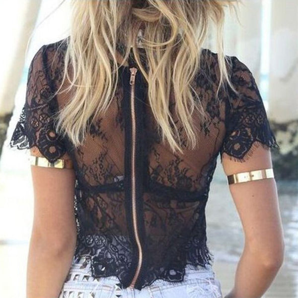Women Sexy Lace Top Blusas Femininas Black Short Sleeve O Neck Hollow Out With Zipper RT5