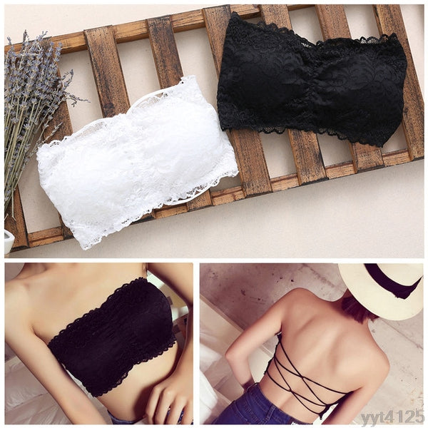 Women Strapless Lace Camisole Backless Bra Bandeau Slim Sexy Tube Tops summer hot sell