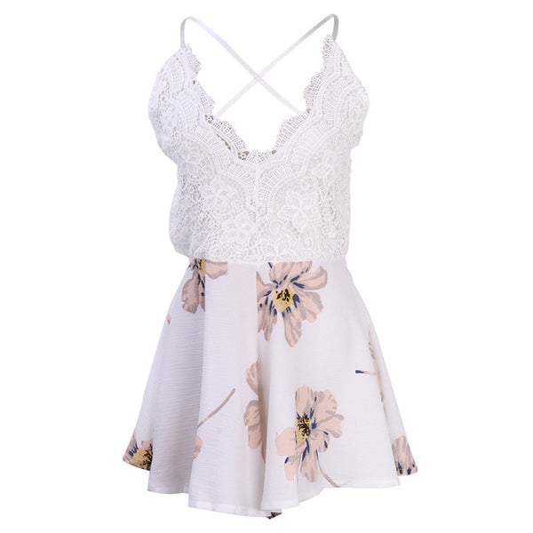 Women Summer Sale arrival Floral Beach Romper jumpsuit Playsuit spaghetti strap backless lace patchwork sexy sweet outfits Girls