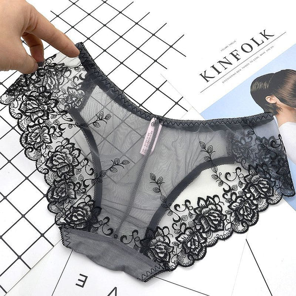 Women Underwear sexy lace women's panties transparent briefs seamless panties lingerie women female pants The embroidery under