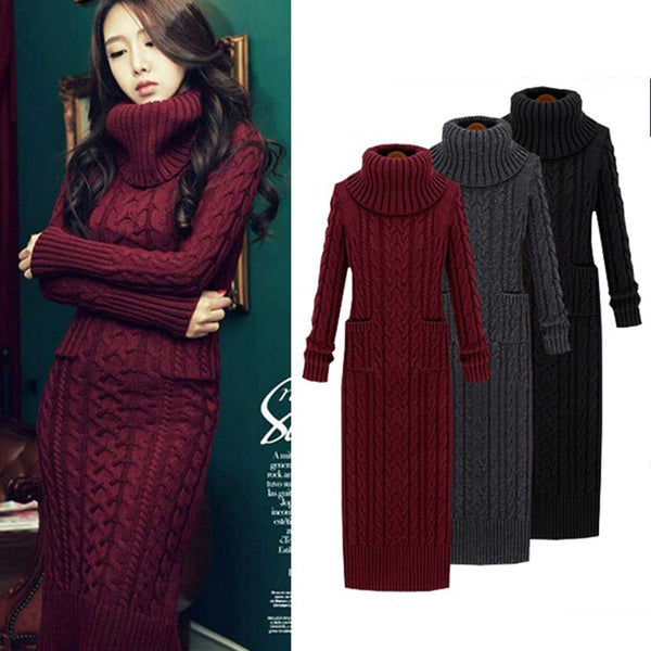 Women Winter Knit Dresses  Europe Long Sleeve Turtleneck Casual Slim Warm Maxi Sweater Dress Plus Size Women's Clothing L-66