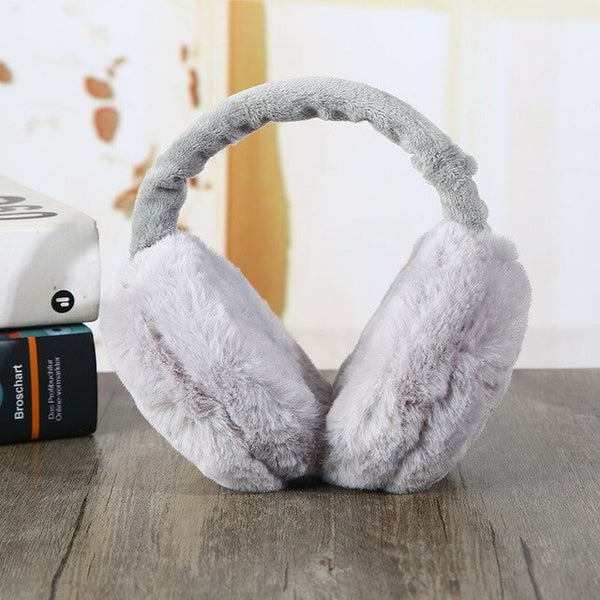 Women Winter Warm Fluffy Earmuffs Portable Folding Pure Color Winter Cold-proof Frost-proof Soft Plush Unisex Ear Muff