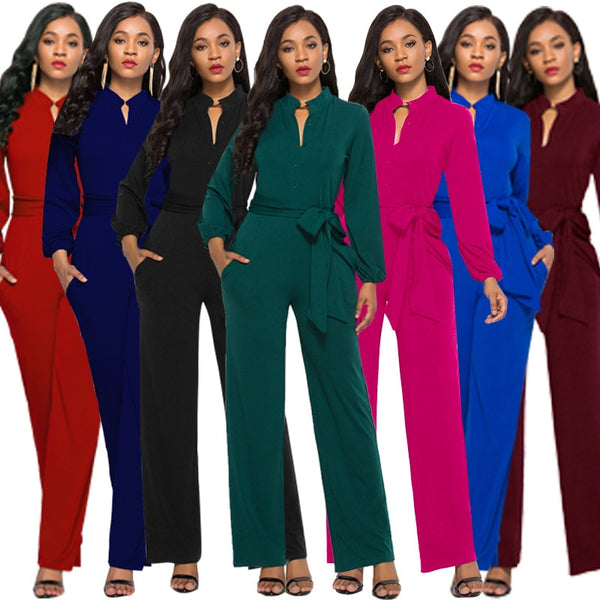 Women bandage long sleeve v-neck wide leg pants rompers women jumpsuit sexy jumpsuits for women women jumpsuit  romper