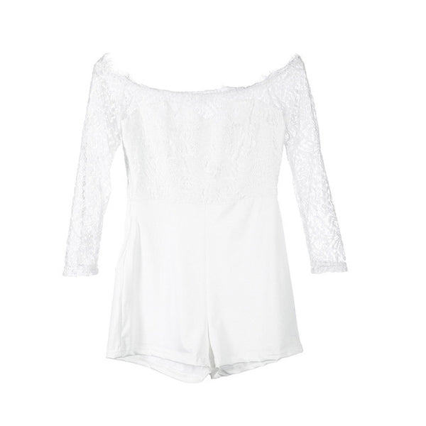 Women ladies summer autumn  off shoulder sexy playsuits arrival long sleeve sheer lace patchwork hollow bandage skinny playsuits