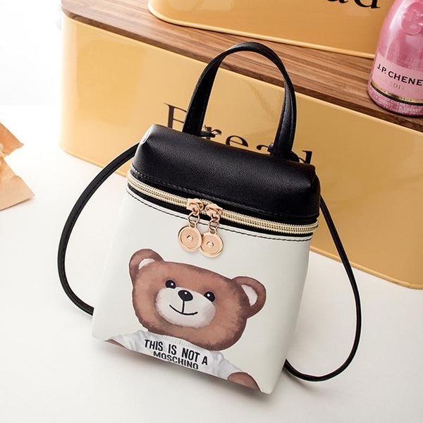 Women's Handbag New Casual Cartoon Female Messenger Shoulder Bags Cute Crossbody Fashion Leather Bags Mini Bear Mobile Phone Bag