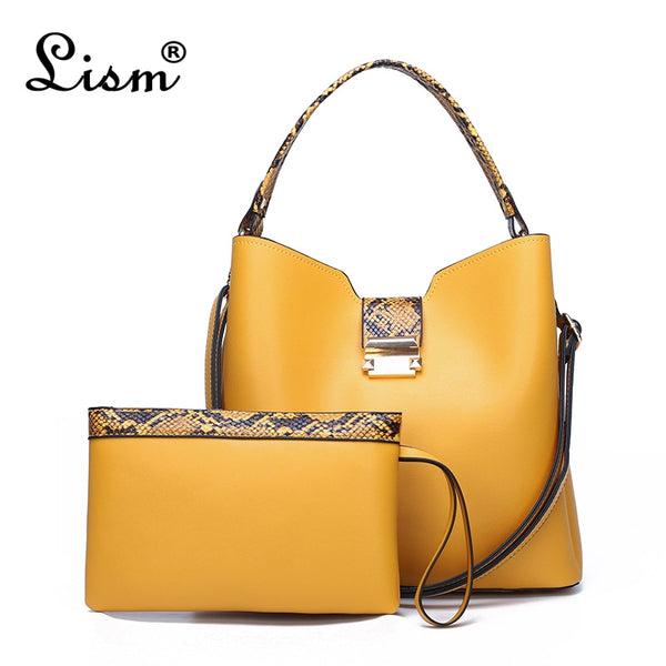 Women's bag high-quality luxury stitching 2-piece set large-capacity bucket bag simple handbag 4 color