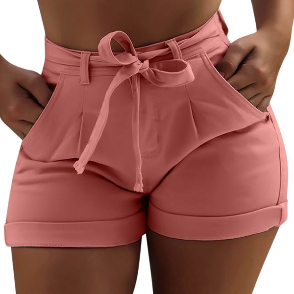 Women's shorts denim belt pocket ladies shorts solid color casual fashion cloth female summer denim shorts new arrivals#G7
