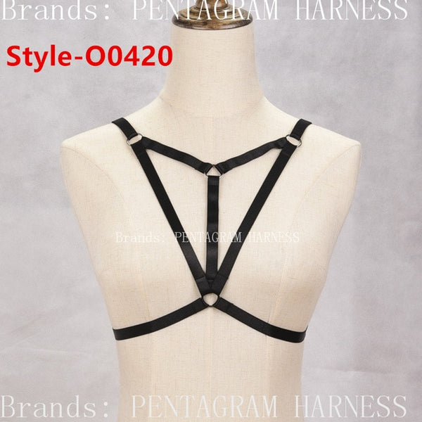 Womens Fashion Sexy Harness Bra Bondage Lingerie Body Harness Belts Black Elastic Strappy Tops Caged Bras Bustier Goth Rave Wear