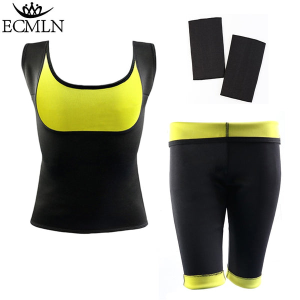 Womens Slimming Pants Thermo Neoprene Sweat Shaper Slimming Pants & Vest & Sleeve Super Stretch control DropShip