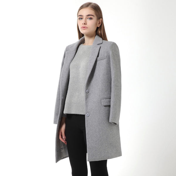 Womens Wool Coats European Style High Quality Autumn Winter Jackets Slim Woolen Cardigan Gray Jacket Elegant Blend Women New