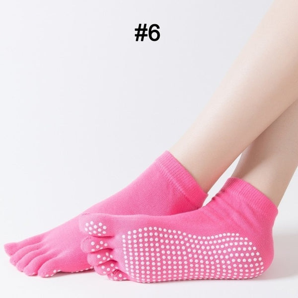 WorthWhile 1 Pair Women Sports Yoga Socks Five Finger Slipper Anti Slip Lady Pilates Ballet Heel Professional Dance Protector