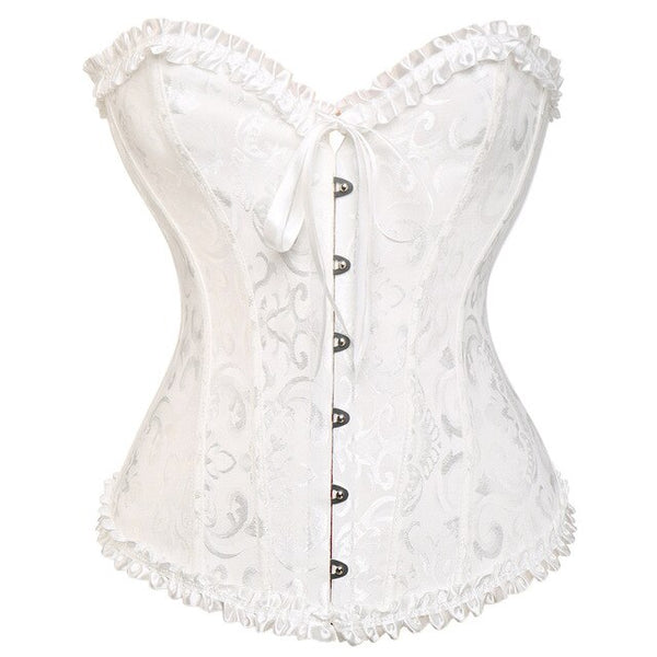 X -sale Lovely Pure New Women Satin Sexy Bustier Lace up Boned Top Corset Overbust Brocade Plus Size S M L XL-6XL