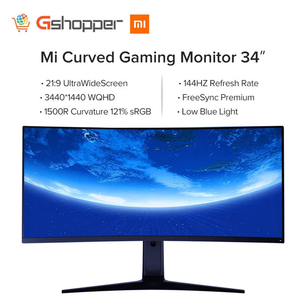 Xiaomi Curved Gaming monitor 34'' 1500R Curvature 121%RGB 144Hz Refresh Rate UltraWide Screen 21:9 Premium PS4 E-sports Desktop