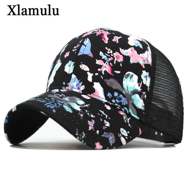 Xlamulu Fashion Baseball Cap Women Snapback Caps Hats For Women Girls Casquette Brand Mesh Cap Bone Gorras Floral Lady Sun Hat