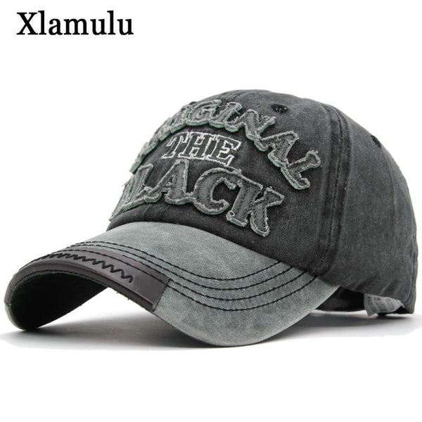 Xlamulu Hot Retro Baseball Caps Hats For Men Casquette Brand Women Snapback Caps Washed Bone Men Hat Gorras Letter Black Cap