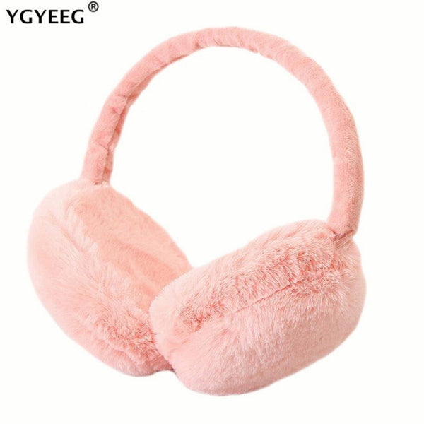 YGYEEG New Earmuffs For Women Imitation Rabbit Fur Winter Earmuffs Warm Female Cotton Ear Warmers Christmas Gifts Fur Earmuffs