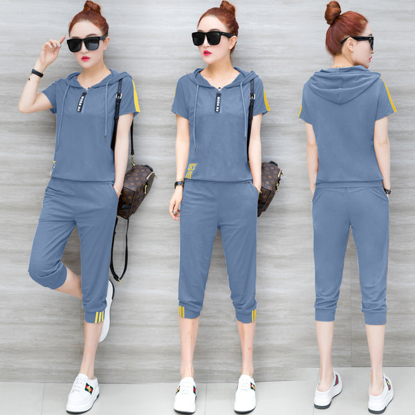YICIYA Blue Tracksuits for Women Outfits 2 Piece Set Sportswear Co-ord Set Plus Size Xxxl Solid Top and Pants Suits  Summer