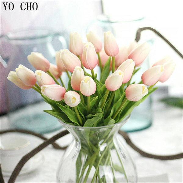 YO CHO 1PC PU Tulips Artificial Flowers Real touch artificiales para decora mini Tulip for Home Wedding decoration Flowers