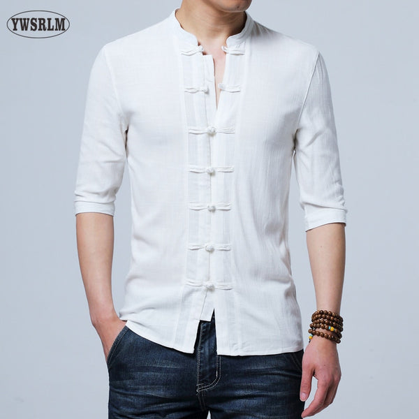 YWSRLM Chinese style cotton Flax summer yarn men's shirt men's three quarter sleeve shirt men's retro solid color shirts