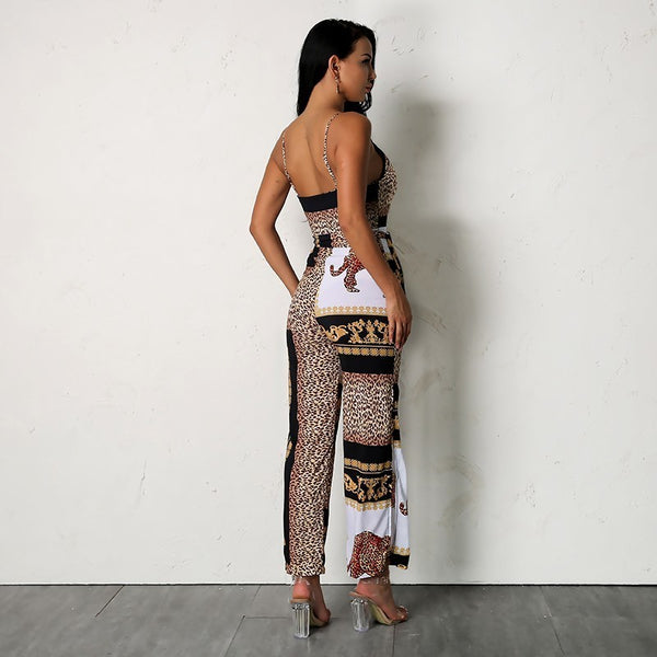 Leopard Jumpsuit Women Split Leg Jumpsuits Print Lacing Elegant Sexy Summer Romper Female Overalls Casual Hot Sell