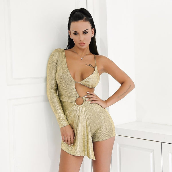 Long Sleeve Summer Palysuits V Neck Backless Women Short Jumpsuits Night Club Party Sexy Casual Rompers Playsuit