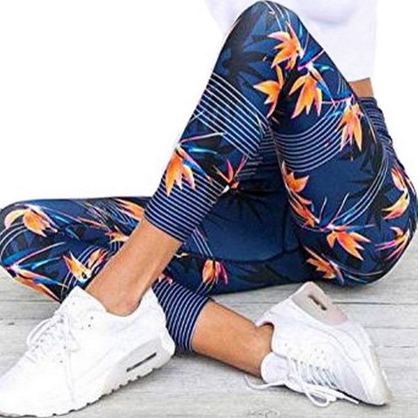 Yoga Leggings High Waist Fitness Legging Sport Women Fitness Hips Leggings Yoga Pants Quick-Drying Breathable Blue Printed