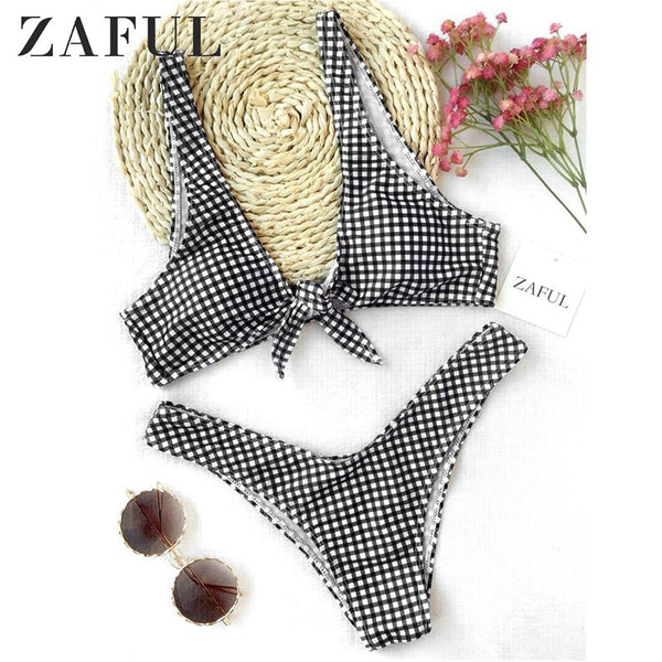 ZAFUL Bikini Women Thong Plaid Front Tie Bikini Set Mid Waisted Plaid Plunging Neck Swimsuit Sexy Summer Beach Swimwear