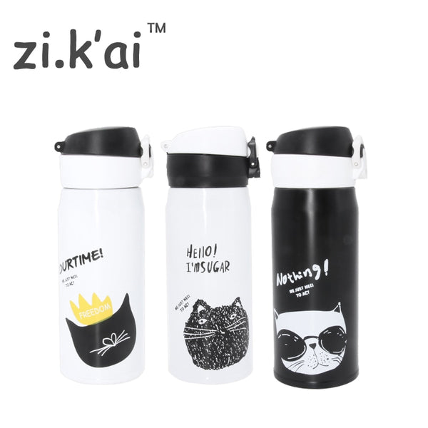 ZIKAI B&W CAT travel Thermos Cup Bouncing cover Bottle Stainless Steel Thermocup Vacuum flask Thermal Mug 350ml coffee mug BW-2