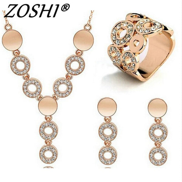 ZOSHI Hot Sale Fashion Women Jewelry Classy Sparking Crystal Necklace Wedding Gold/Silver Jewelry Set Woman Dress Accessories