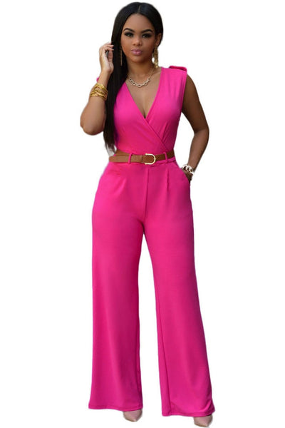 Zkess Jumpsuit Long Pants Women Rompers Sleeveless XXL V-neck - Belt Solid Sexy Night Club Elegant Slim Jumpsuits Overalls