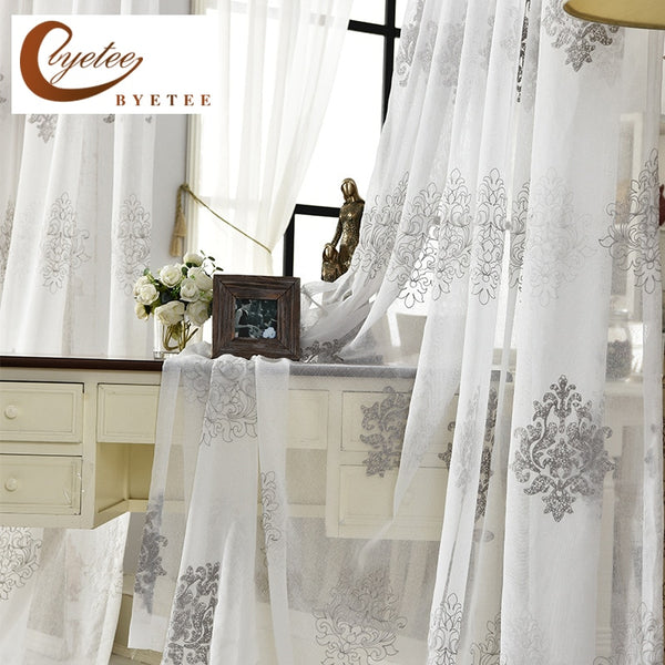 [byetee] High Quality Linen Embroidered Curtain Bedroom Window Tulle Gauze Grey Voile Curtains For Living Room Curtain Finished
