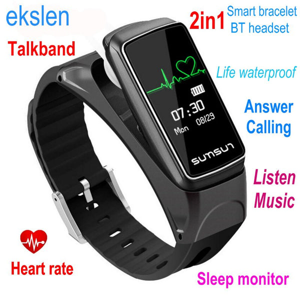 ekslen B7 Talkband Smart Bracelet 2in1 Bluetooth Headset with Heart Rate Wristband Band Health Fitness Tracker Wearable device