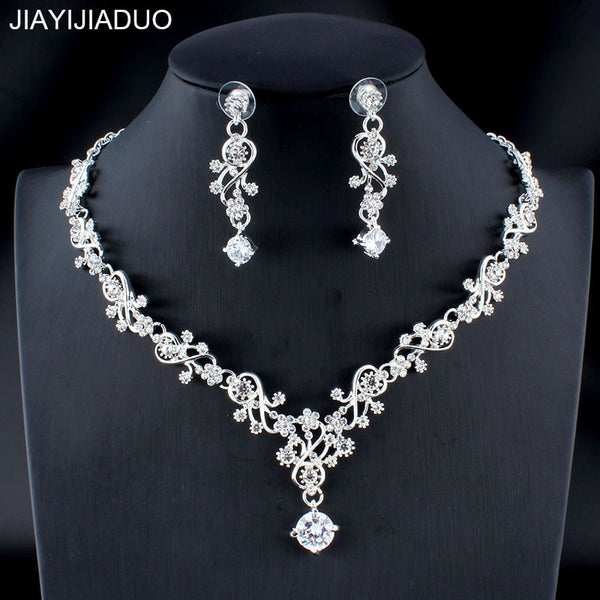 jiayijiaduo Classic women's wedding jewelry set silver / gold color fine necklace earrings accessory gift   new