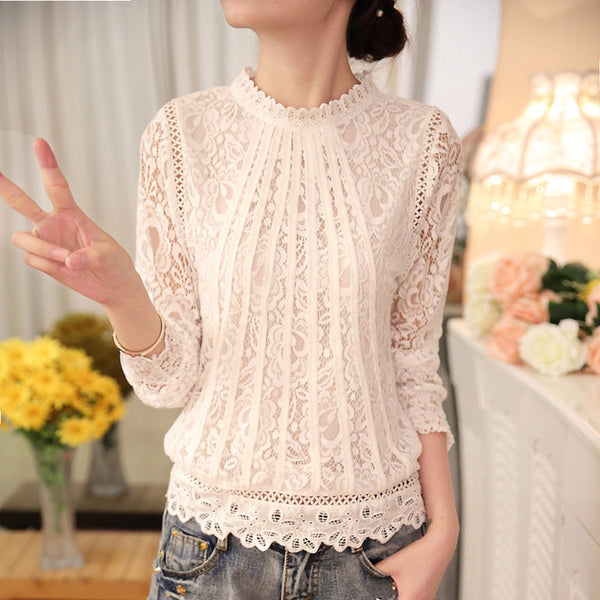 New Summer Ladies White Blusas Women's Long Sleeve Chiffon Lace Crochet Tops Blouses Women Clothing Feminine Blouse 51C
