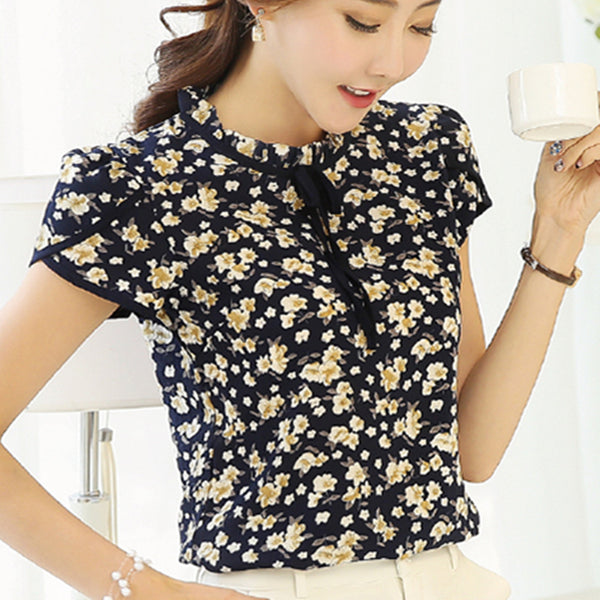 Summer Floral Print Chiffon Blouse Ruffled Collar Bow Neck Shirt Petal Short Sleeve Chiffon Tops Plus Size Blusas Femininas