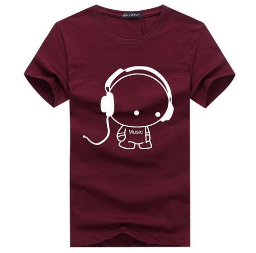 Quality T Shirts Fashion  Headset Cartoon Printed Casual T Shirt Men Brand T-shirt Cotton Tee Shirt Plus Size 5XL