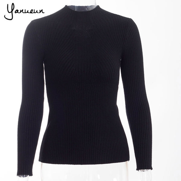 Fashion Women Pullovers Turtleneck Knit Shirt Long Sleeve Stretched Solid Sweater Tops - Fall Winter Jumper