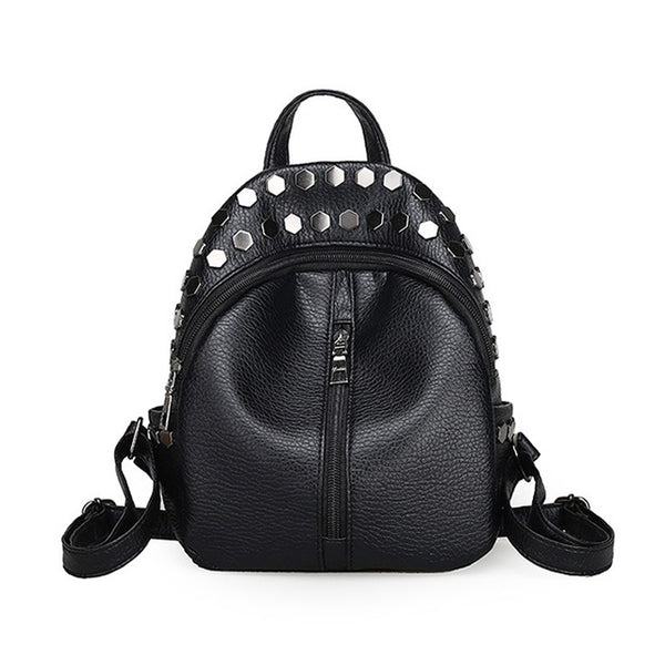 Small Women Backpacks Rivet Zipper Pu Leather Student Backpack Preppy Fashion Bag Girls Women's Backpack