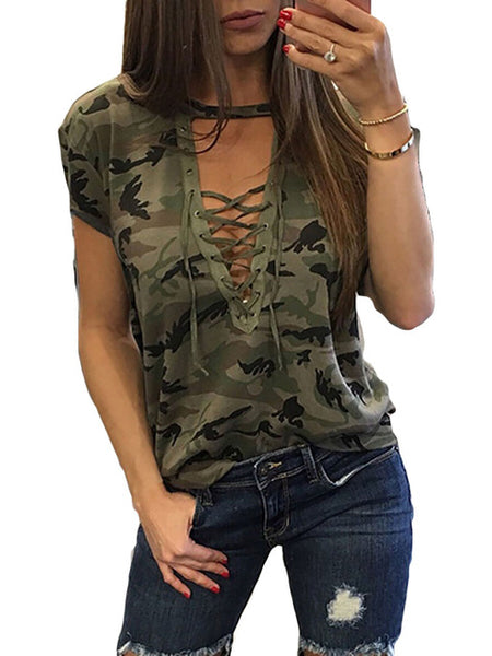 Fashion Women Ladies Short Sleeve Camouflage Loose Blouse Summer Lace Up Casual Blouses Shirts Tops