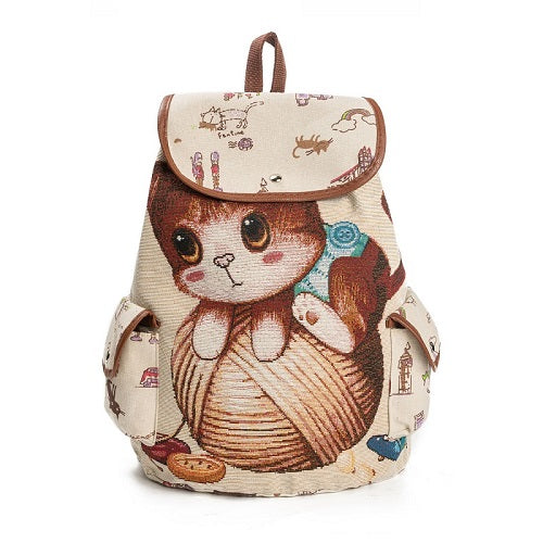 Casual Canvas School Backpack Women Lovely Cat Printed Drawstring Backpack Teenager Large Capacity Ladies School Bag