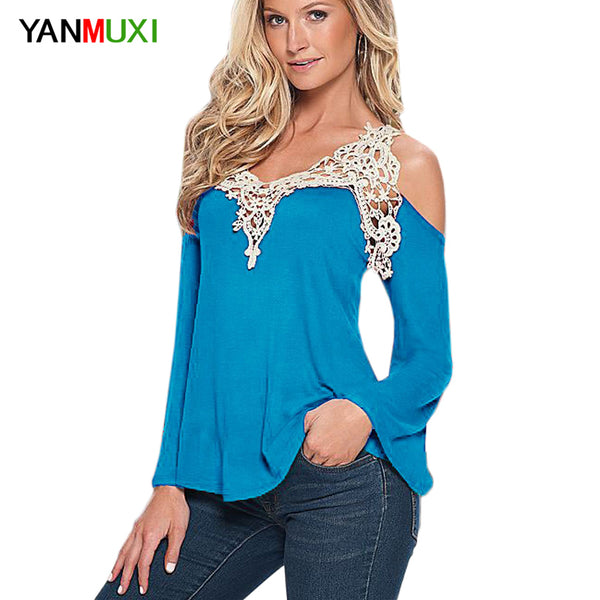 Women Blouse Shirt Top - Solid Sexy Floral Lace Off Shoulder Blue Shirt Streetwear Long Sleeve Loose Plus Size 5xl Casual Top
