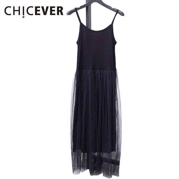 [CHICEVER] Sexy Off Shoulder Summer Women Dress Female Loose Spaghetti Strap Mesh Ladies Party Dresses New Clothing