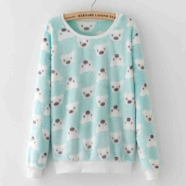 Cute Teddy Bear Harajuku Christmas Women Sweaters - Fashion Winter Wool Pullover Cashmere Knitted Sweater Warm Flannel