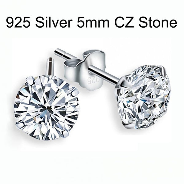 100% 925 Sterling Silver CZ Stud Earrings For Women Jewelry Simple Cubic Zircon Ear Piercing Post Earrings Classic LE0285