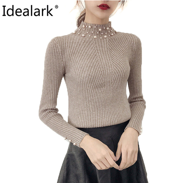Pearl Beaded Pure Color batwing Sleeve Loose round Neck Long Sleeve Cute Women knit Sweaters and Pullovers WC0665