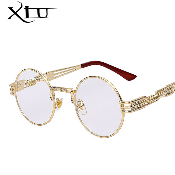 Gothic Steampunk Sunglasses Men Women Metal Wrap Eyeglasses Round Shades Brand Designer Sun glasses Mirror  High Quality UV400