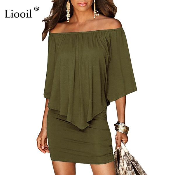 Army green Slash Neck Women Mini Dress - Summer Style Off Shoulder Sexy Dresses Vestidos Black White Beach Casual Dress
