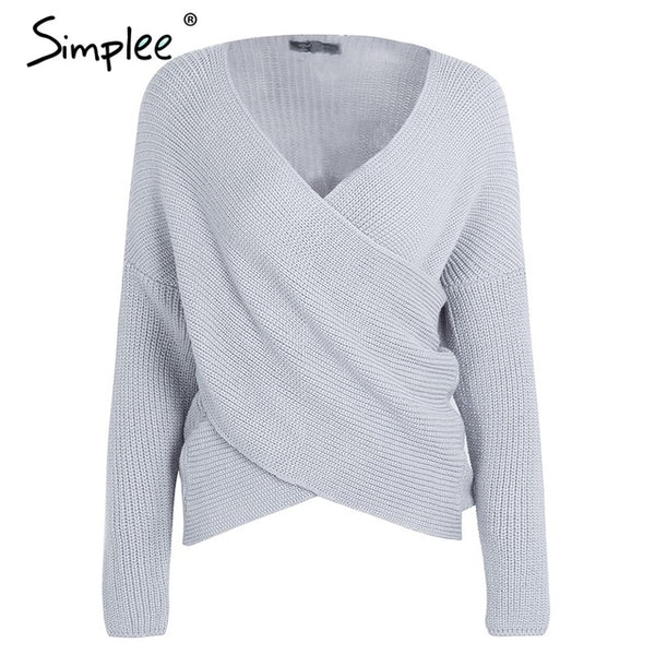 V neck cross knitting winter sweater women Fashion down sleeve pullover female New autumn winter casual jumper