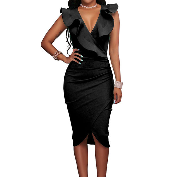 Women Summer Dress Sexy Sleeveless V Neck Pencil Party Dresses Ladies Ruffles Bodycon Slim Midi Club Vestidos