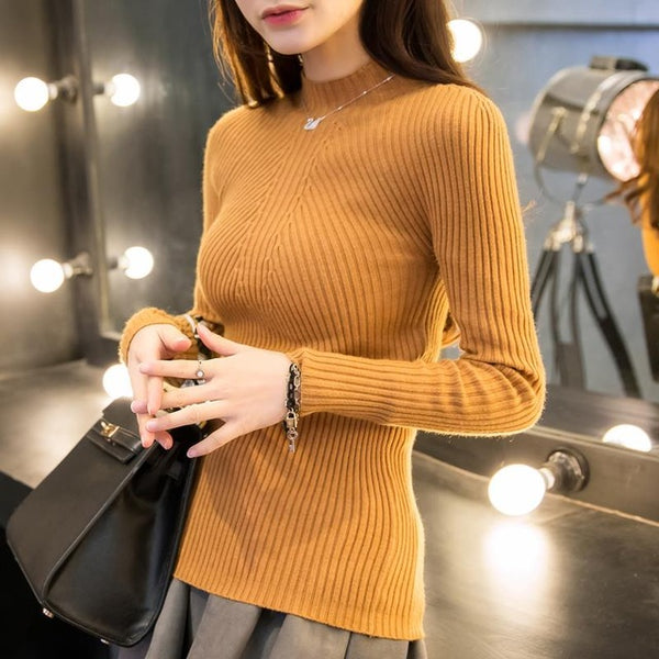 New Spring Fashion Women sweater high elastic Solid Turtleneck sweater women slim sexy tight Bottoming Knitted Pullovers